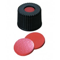 8mm Combination Seal: PP Screw Cap, black, centre hole, 8-425 thread; Natural Rubber red-orange/TEF transparent, 60° shore A, 1.3mm