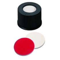 15mm Combination Seal: PP-Screw Cap, black, open top, screw 15-425; Silicone white/PTFE red, 45° shore A, 1.3mm