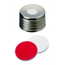 UltraClean Closure (trade mark): 18mm Magnetic Universal Screw Cap, silver, centre hole; Silicone white/PTFE red, 45° shore A, 1.3mm