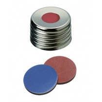 18mm Combination Seal: Magnetic Universal Screw Cap, silver, centre hole; Butyl red/PTFE grey, 55° shore A, 1.6mm
