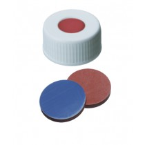 24mm Combination Seal: PP Screw Cap, white, centre hole; Butyl red/PTFE grey, 55° shore A, 2.5mm
