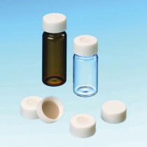 4ml Screw Neck Vial, 45 x 14.7mm, clear glass, 1st hydrol. class, with assembled 13mm Combination Seal: PP-Screw Cap, black, closed top; Butyl red/PTFE grey, 55° shore A, 1.3mm
