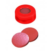 11mm Combination Seal: PE Snap Ring Cap, red, centre hole; Natural Rubber red-orange/TEF transparent, 60° shore A, 1.0mm