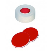 11mm Combination Seal: PE Snap Ring Cap, transparent, centre hole; PTFE red/Silicone white/PTFE red, 45° shore A, 1.0mm