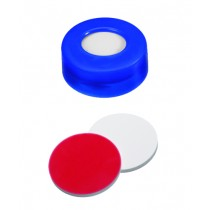 UltraClean Closure (trade mark): 11mm PE Snap Ring Cap, blue, centre hole; Silicone white/PTFE red, 45° shore A, 1.3mm