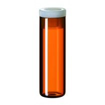 4ml Shell Vial, 44.6 x 14.6mm, amber glass; 15mm PE Plug, transparent