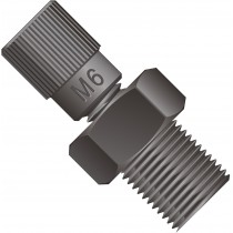 "Adapters & Connectors: Threaded Adapter, 1/8"" NPT (Male) to M6 Flat Bottom (Female), PEEK™"