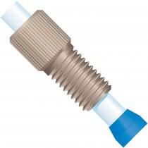 Flangeless Fitting, for 4.0mm OD Tubing, 5/16-24 Flat-Bottom, PEEK/ETFE, Natural/Blue
