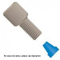 "Flangeless Fitting, for 1/16"" OD Tubing, 1/4""-28 Flat Bottom, PEEK™/ETFE, Natural/Blue"