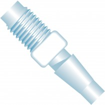 "Adapters & Connectors: Barbed to Thread Adapter, 5/16""-24 Flat Bottom to 3/16"" (4.75mm) ID, ETFE"